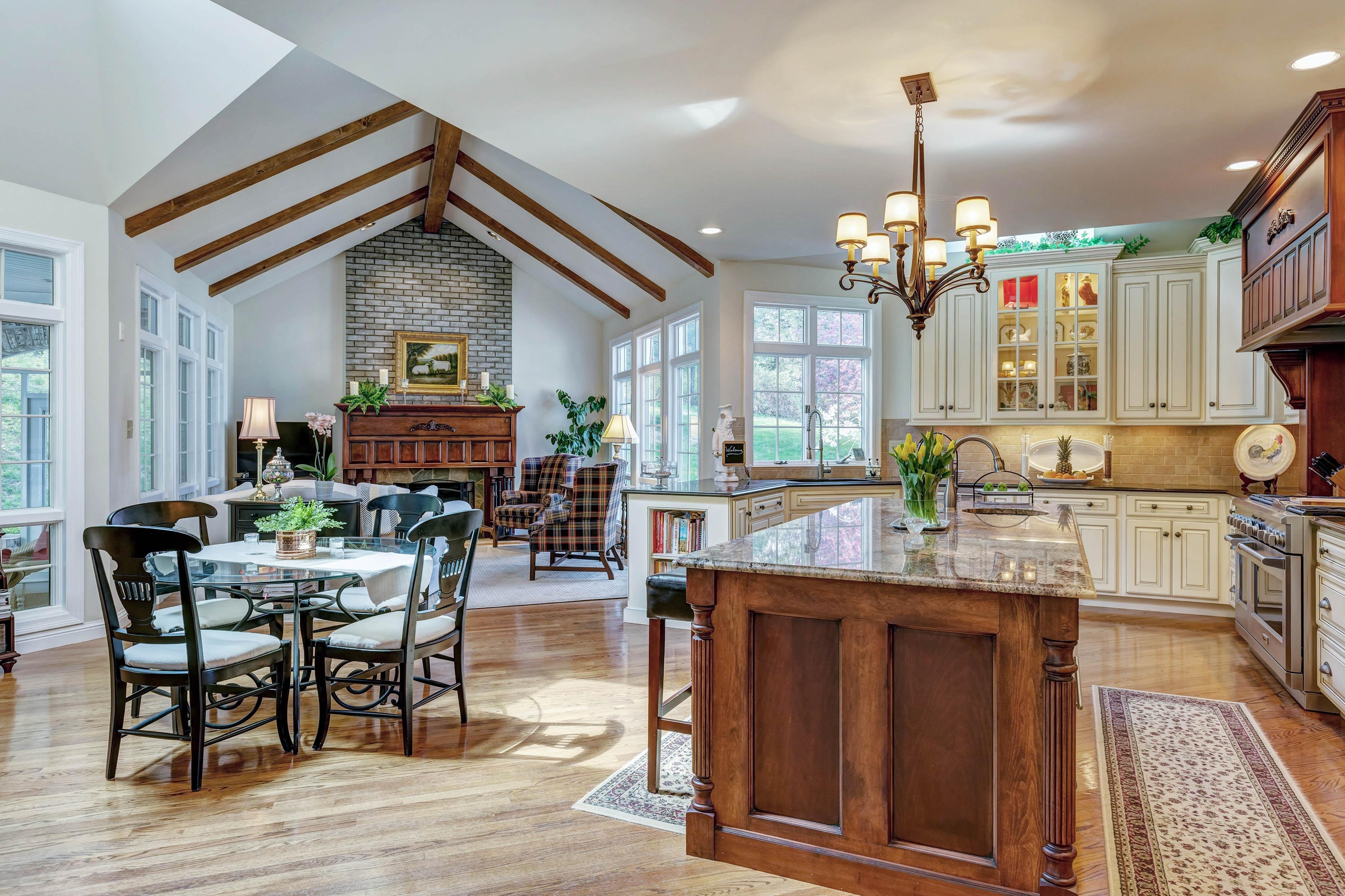 Kitchen & Hearth Room.